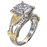 LAVUMO Round Cubic Zirconia Women Engagement Anniversary Promise Rings with Two-Tone Gold plated(7)
