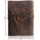 LEATHER JOURNAL Writing Notebook - Antique Handmade Leather-Bound Daily Notepads For Men & Women Unlined Paper Large 8 x 6 Inches - Best Gift for Art Sketchbook, Travel Diary & Journals to Write in