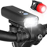 LED Bike Light Set. 400 Lumen USB Rechargeable Front + FREE Rear Light. Water-Resistant Bicycle Headlight and Tail Light, Mounts Securely w/o Tools and Fits ALL Bikes. Bright - Visible - Durable