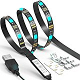 LED TV Backlight Strip JACKYLED 6.6Ft 60Leds USB Bias Monitor Lighting RGB 5050 SMD Changing Color Strip Kit Accent light Set For TV Desktop PC (Mini Controller)