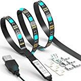 LED TV Backlight Strip JACKYLED 6.6Ft 60Leds USB Bias Monitor Lighting RGB 5050 SMD Changing Color Strip Kit Accent light Set For TV Desktop PC (Mini Controller)