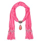 LERDU Oral Oversized Jewelry Teardrop Marble Stone Necklace Scarves With Fine Tassel For Ladies (Hot Pink)