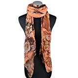 LERDU Oversized Pashmina Wrap Shawl Rose Peony Pattern Blend Print Scarves for Women