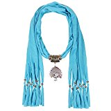 LERDU Plain Infinity Jersey Fringe Scarf Peacock Jewelry Pendant Scarf Necklace For Women