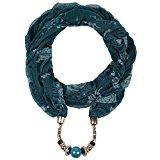 LERDU Women's Oversized Loop Infinity Scarf Necklace with Beads Pendant Pattern Jewelry Scarves for Winter (Blackish Green)