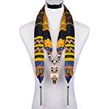 LERDU Women's Owl Pendant Wide Scarves Necklace Pattern Voile Scarves Winter