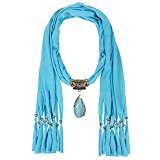 LERDU Women's Plain Ocean Blue Chiffon Pear Shape Jewelry Pendant Wrapping Necklace Scarves Drop Tassel Infinity Scarves With Blue Marble Stones