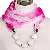 LERDU Women's Snood Necklace Scarves with Acrylic Beads Pink and White