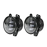 LITE-WAY 4 Inch 30w Cree Led Fog Lights Len Projector for Jeep Wrangler JK Led Fog Lamps Bulb Driving Offroad Lamp for Jeep Wrangler JK Dodge Chrysler Front Bumper Lights