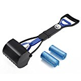 LNE Long Handle Portable Pooper Scooper for Dog Cat Jaw Claw Rake Springs Great in Grass Snow Dirt Cement Perfect for Small Medium Large Pets with 2 Blue Bags
