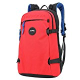 LUXUR 40L Canvas Laptop Backpack Travel Camping Hiking School Casual Daypack Red