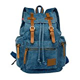 LUXUR Men and Women Casual Latop Backpack Vintage High Density Thick Canvas Rucksack Bag 30L Fit 13