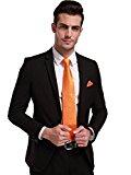 Landisun Paisleys Mens Silk Tie Set: Necktie+Hanky+Cufflinks 44G Bright Orange, 3.25