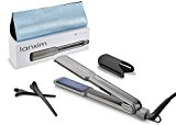 Lanxim Pro Digital Tourmaline Ceramic Flat Iron Hair Straightener with Heat Resistant Travel Bag and Protective Plate Guard,1 1/4-Inch,Gray