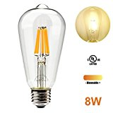 Leadleds 8W Vintage LED Filament Bulb, Edison Style E26 Medium Base, 800 Lumens 2700K Soft White Dimmable, Replace 80 Watt Incandescent Bulb, ST19 Antique Shape
