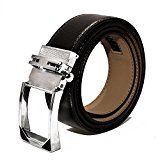 Leather Belts, Men's Automatic Sliding Buckle, Ratchet Belts for Jeans and Dress (48(120cm), Silver Buckle Black Leather)