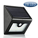 LiaoYuan Outdoor Solar Wall Lights Ultra Bright 28 LED Security Lighting Motion Sensor 3 Modes Off/Brightest/Dim Wireless Waterproof for Yard 2200mAh Battery(1 Pack)