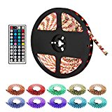 LightMe 5 Meter Waterproof Led Strip Lights, 12V 300LED SMD5050 Color Changing RGB LED Light Strip with 44 Keys Remote Controller For Christmas Party Home Decor