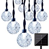 LightsEtc Solar Outdoor String Lights 30led Crystal Ball for Garden,Yard, Home Decorations (White)