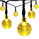 LightsEtc Solar String Lights 20 LED15.7 Feet Garden,Home Decorative Crystal Globe Ball(Warm White)
