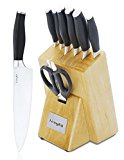 LivingKit Chef Knife Set Block 8 Pc High Durability Stainless Steel Blades Ergonomic Grip Handle with Chef Bread Slicer Utility Paring Peeler Knives Shears Nature Wooden Block