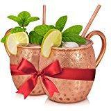 Luxury Moscow Mule Copper Mugs - Mule Mug Set of 2, 16-Ounce, Solid Pure Copper Mule Cups w/ Bonus 2 Copper Straws and Recipe Ebook (15 Refreshing Mules) - by Original Copper Mug Company