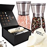 Luxury Stainless Steel Salt And Pepper Grinder Set - Pepper Mill and Salt Mill - Adjustable Coarseness Ceramic Spices Grinder- Supreme Elegance Salt and Pepper Shakers - Great Gift Idea by YOT Chef