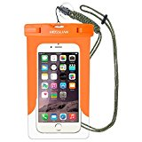 MOSSLIAN Waterproof Case Universal Dry Bag for Apple iPhone 6s, 6 Plus, Samsung Galaxy S6 Edge for Cell Phone Up To 6 Inches (Orange(W/O band))