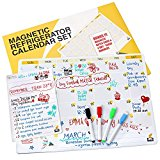 Magnetic Fridge Calendar - Dry Erase White Board Family Monthly Planner - Notepad and 4 Markers BONUS - 17