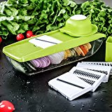 Mandoline Slicer/Julienne/Slicer/Shredder with Built-In Container, 5 Super-Sharp Interchangeable Cutting Blades, plus FREE TOP 10 TASTIEST SALADS AND 1 YEARS MONTHLY SUPER MEAL RECIPE IDEAS