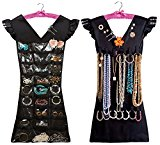Marcus Mayfield 2 sided Dress Style Hanging Organizer with Satin Hanger for Jewelry and Makeup Accessories (Black, Pink)