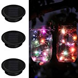 Mason Jar Light, iThird 3 Pack 10 LED Color Changing Solar Fairy Lights Lids Insert for Christmas Wedding Holiday Party Decorative Lighting Fit for Regular Mouth Jars(Jars Not Included)
