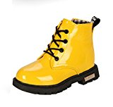 Maxu Fashion Girls Boys Yellow PU Waterproof Child Martin Boots,Toddler,10M US