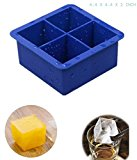 Mdairc 4 cubes FDA Silicone Ice cube tray, Durable and not temerature sensitive (Blue)