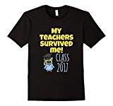 Men's Funny Graduation Gift: My Teachers Survived Me Owl T-shirt XL Black