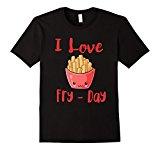 Men's I Love Fry-Day French Fries T-Shirt Medium Black
