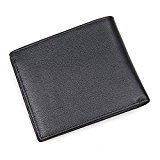 Clean Vintage Men's Italian Genuine Leather Bifold Wallet- Rfid Pocket Wallet ( Black )
