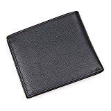 Men's Italian Leather Bifold Wallet- Rfid Pocket Wallet (Black)- Clean Vintage