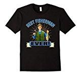 Mens Best Fisherman Ever! T-Shirt 2XL Black