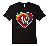 Mens Tie-Dye Cardio Heart Nurse T-Shirt XL Black
