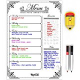 Menu Planner Magnetic Calendar Board - Menu White Board for Fridge - Refrigerator Weekly Meal Planner - with Grocery List and Notes - Diet Whiteboard Meal Plan - by MagnetElite Calendars 2017