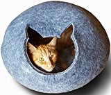 Meowfia Premium Felt Cat Cave (Large) - Eco-Friendly 100% Merino Wool Cat Bed - Cat Shape Entrance - Soft and Comfy Beds for Large Cats and Kittens (Dark Grey)