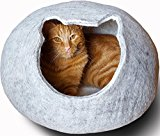 Meowfia Premium Felt Cat Cave (Large) - Eco-Friendly 100% Merino Wool Cat Bed - Cat Shape Entrance - Soft and Comfy Beds for Large Cats and Kittens (Light Grey)