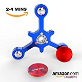 Metal Fidget Spinner Hand Toy, Newest Balance System update Spinning time 4 Minutes with Solid Bearing Gap SS304 - by KOMVOX (Blue)