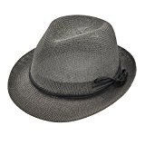 Miss Girl Sun Hats for Women, Summer Short Brim Straw Fedora Hats Gray Color