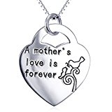 Mother Jewelry Sterling Silver 925 Trendy Necklace Heart Lock Engrave White Gold Plated Pendant Chain 18