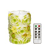 Moving Wick Led Candle with Remote Control.Green Flowers,4x5.5 inches,by Simplux