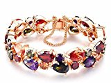 Multi-Color Simulated AAA CZ Gems Rose Gold Plated Mona Lisa Bracelet (18 cm)