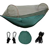 Multifuction Hammock with Bug Net, Extra Lightweight Nylon Fabric Camping/ Garden/ Backyard Hammock with Heavy Duty Stainless Steel Gears, Size 7-1/2 x 3-3/5, Jasper