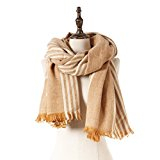 Natural Feelings Huge Contrast Color Stripe Fringe Women Winter Scarf Wrap Shawl